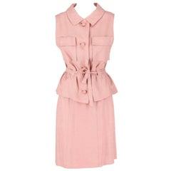Pink Linen Tailored Vintage Suit, 1960s