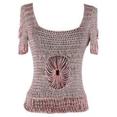 Pink lurex knit & chain top Loris Azzaro