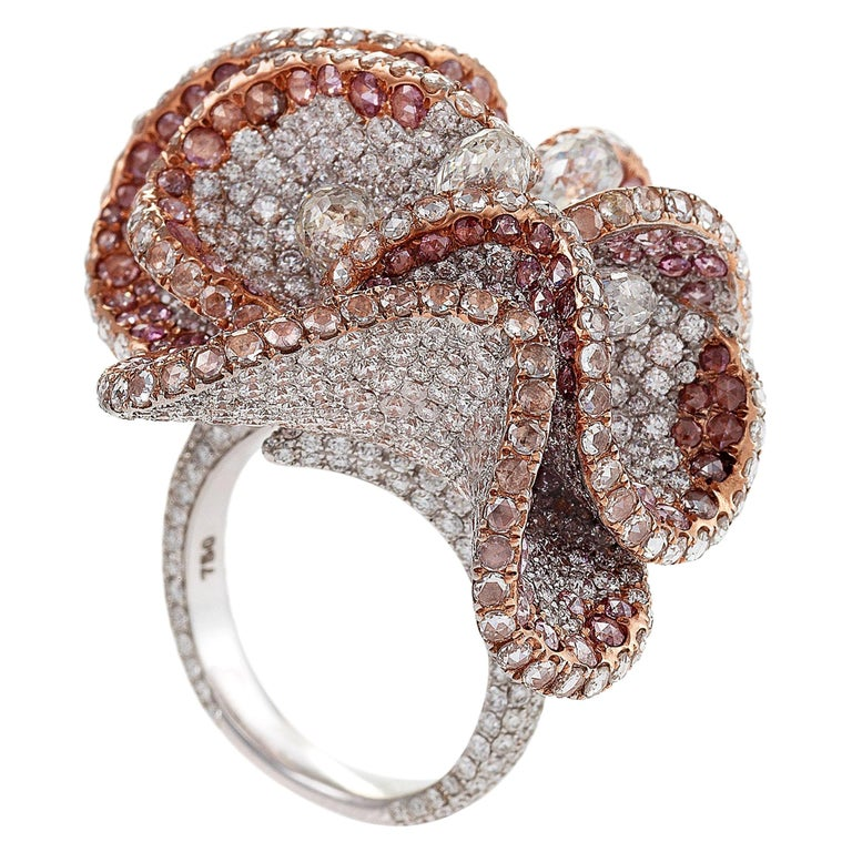 Pink Magnolia Ring by Neha Dani For Sale
