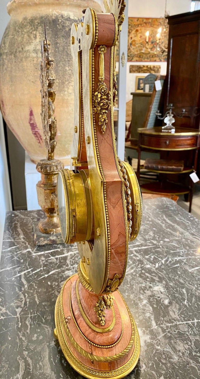Pink Marble and Ormolu 19th Century French Lyre-Form Clock with Jeweled Pendulum In Good Condition For Sale In Doylestown, PA