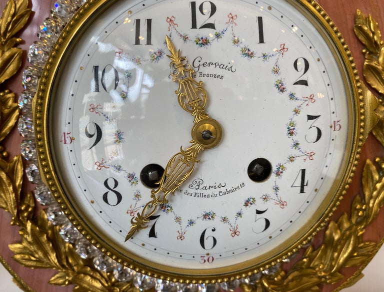 Crystal Pink Marble and Ormolu 19th Century French Lyre-Form Clock with Jeweled Pendulum For Sale