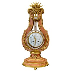 Pink Marble and Ormolu 19th Century French Lyre-Form Clock with Jeweled Pendulum