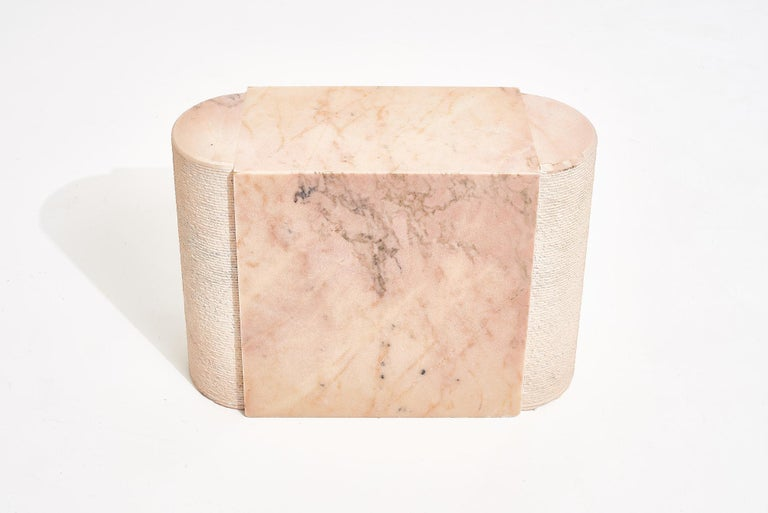 Pink marble side table, Italy, 1970's. Stone International end table.