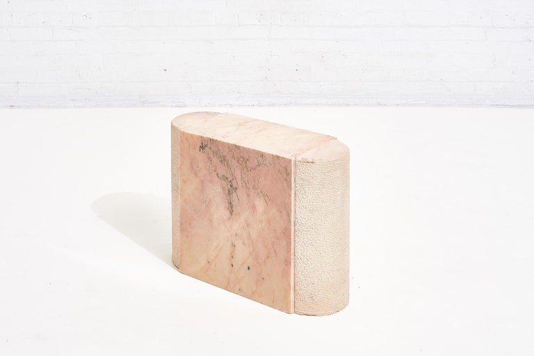 Mid-Century Modern Pink Marble Side Table, Italy 1970