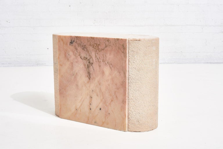 Pink Marble Side Table, Italy 1970 In Good Condition In Chicago, IL