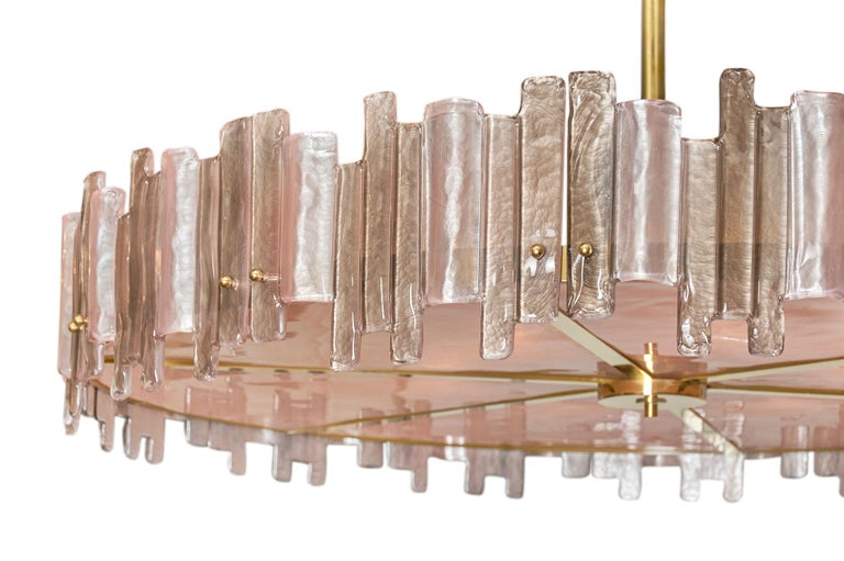 Pink Mazzega Murano Glass Chandelier In Excellent Condition For Sale In Austin, TX