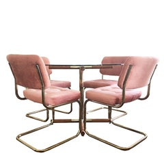 Pink Mid-Century Modern Cantilever Dining Set in the Style of Milo Baughman