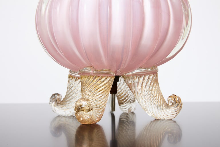Italian Pink Midcentury Barovier Lamp with Green Silk Shade For Sale