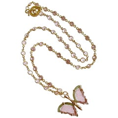 Pink Mint Green Watermelon Tourmaline Butterfly Necklace