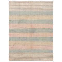 Pink Modern Striped Kilim Handmade Wool Rug