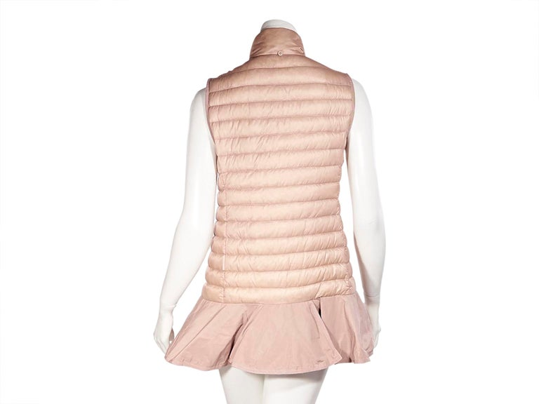 Beige Moncler Pink Down Ruffled Vest For Sale
