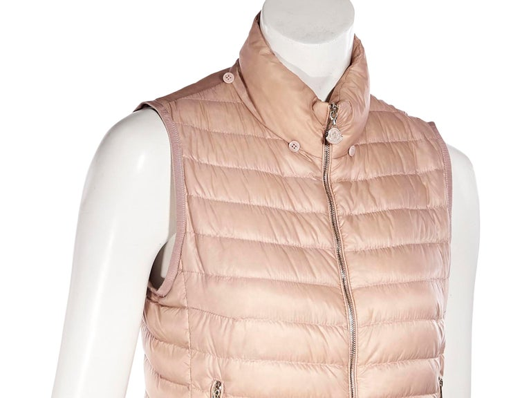 Moncler Pink Down Ruffled Vest In Good Condition For Sale In New York, NY