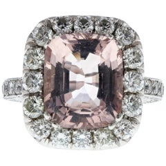 Pink Morganite and Diamond Halo Ring '4.10 Carat Center Stone'