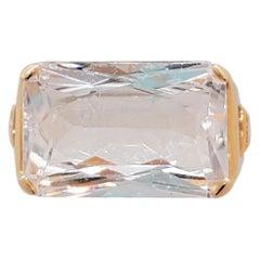 Pink Morganite and White Diamond Cocktail Ring in 18 Karat Rose Gold