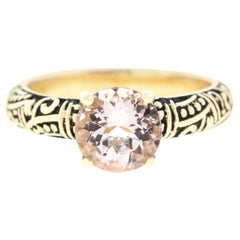 Pink Morganite Engagement Ring with Custom Engraving