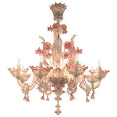Pink Murano 8-Light Chandelier