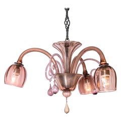 Pink Murano Glass Chandelier by Venini, Italy, circa 1940