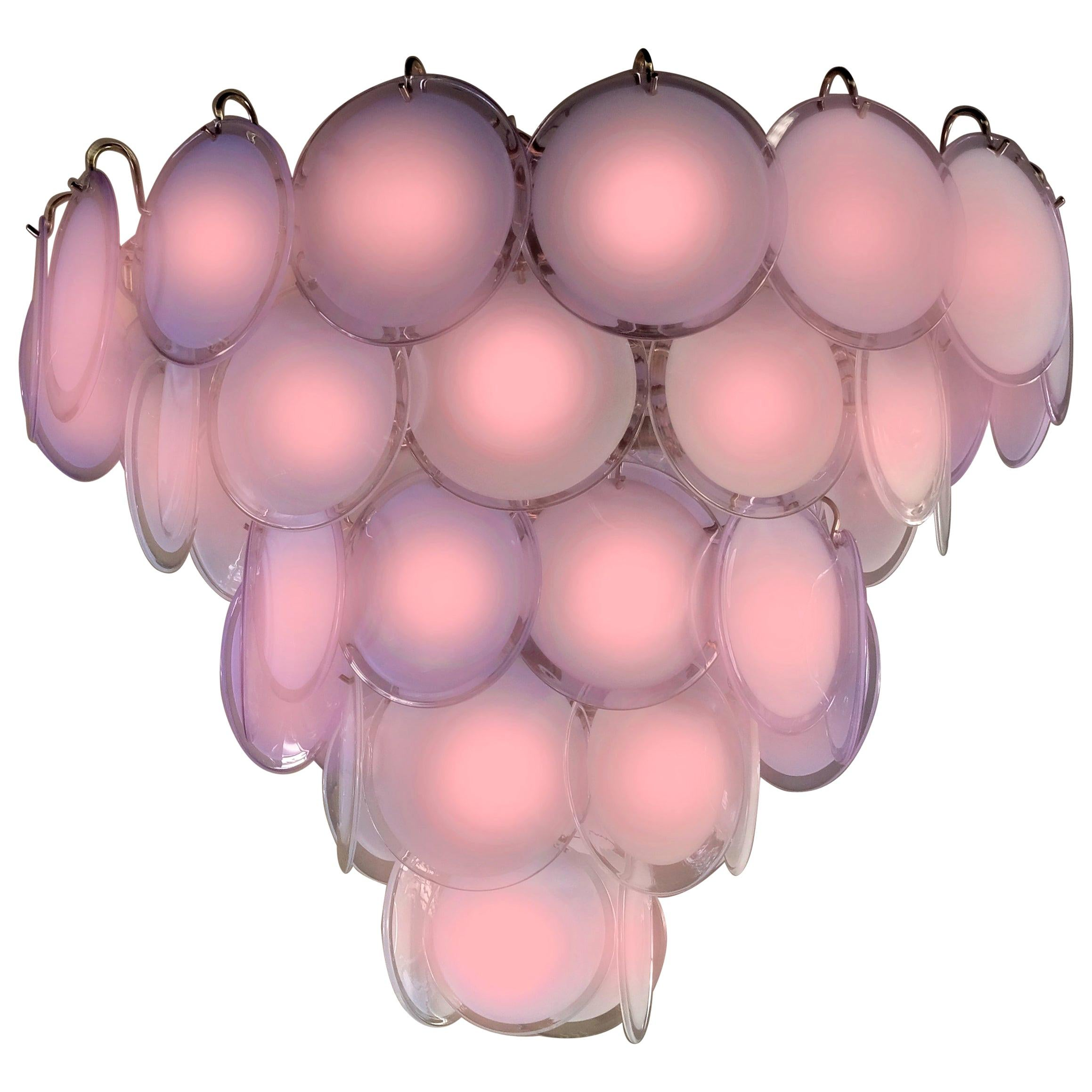 Pink Murano Glass Disc Chandelier, Italy, 1970s