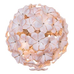 Pink Murano Glass Flower Chandelier