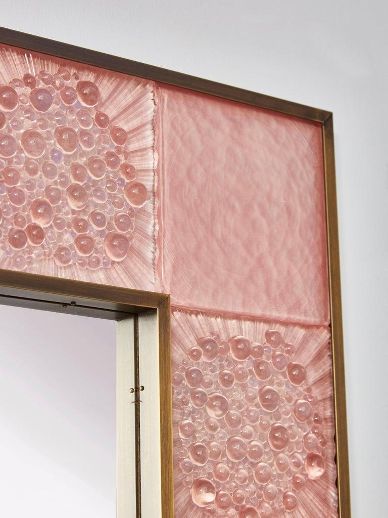 Italian Pink Murano Mirror by Studio Glustin For Sale