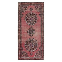 Pink Old and Worn Down Persian Bakhtiari Pure Wool Hand Knotted Runner Oriental