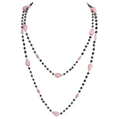 Pink Opal and Black Diamond Beads 14 Karat White Gold Chain Necklace