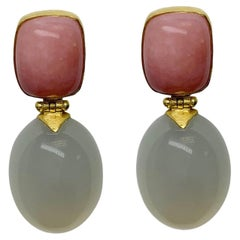 Pink Opal and White Moonstone Dangle Earrings in 18 Karat Gold, A2 by Arunashi