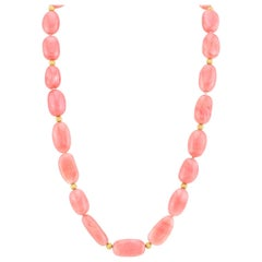 Strawberry Pink Opal Beaded Necklace Strand with 14k Rose Gold Accents