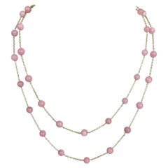 Pink Opal Beads Station Chain Necklace in 14 Karat Gold