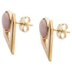 Pink Opal Cabochon Earring Pair in 9 Carat Gold from IOSSELLIANI