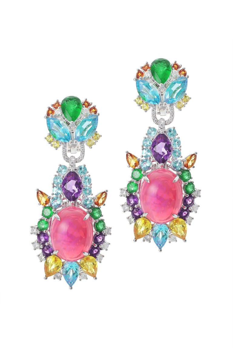 Oval Cut Pink Opal, Diamond, Emerald, Sapphire, Topaz and Citrine Starburst Earrings For Sale