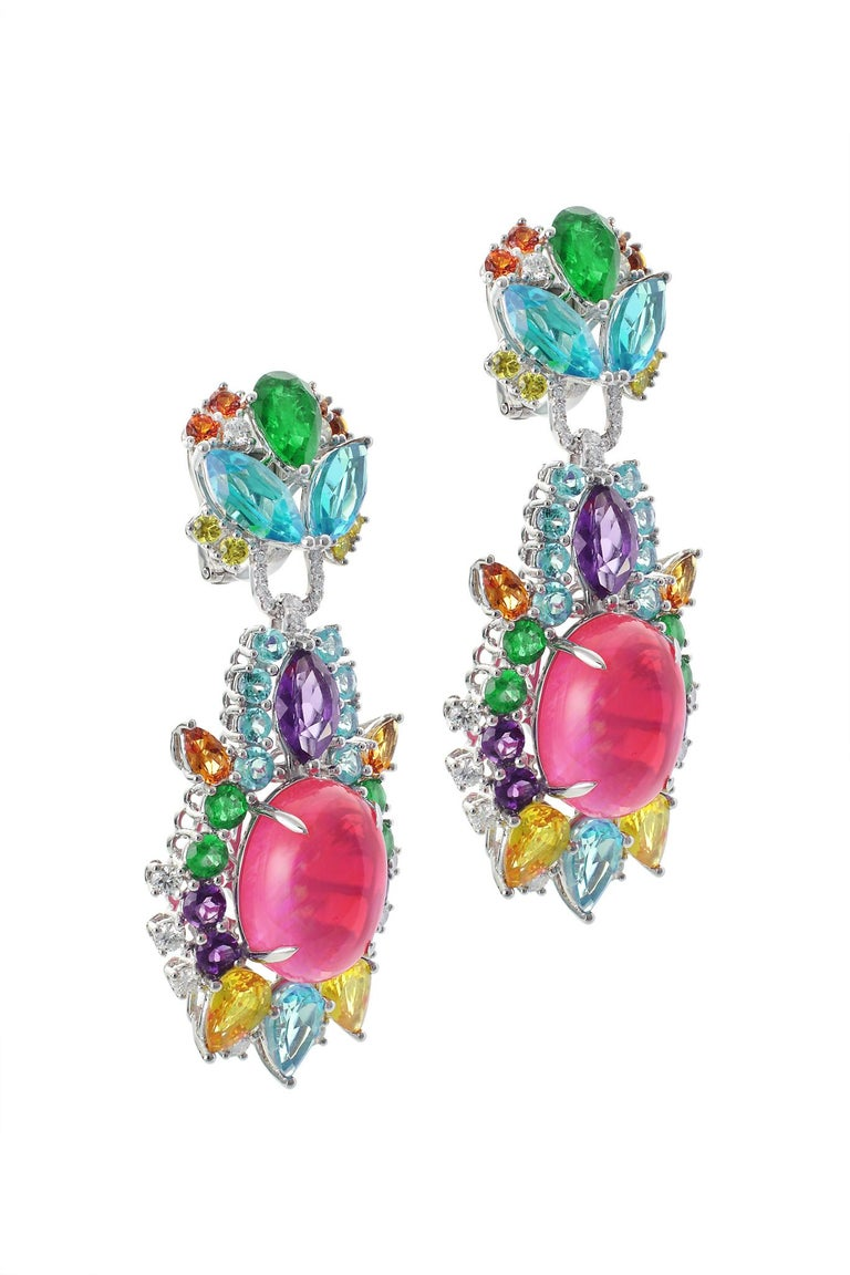 Pink Opal, Diamond, Emerald, Sapphire, Topaz and Citrine Starburst Earrings In New Condition For Sale In Bangkok, TH