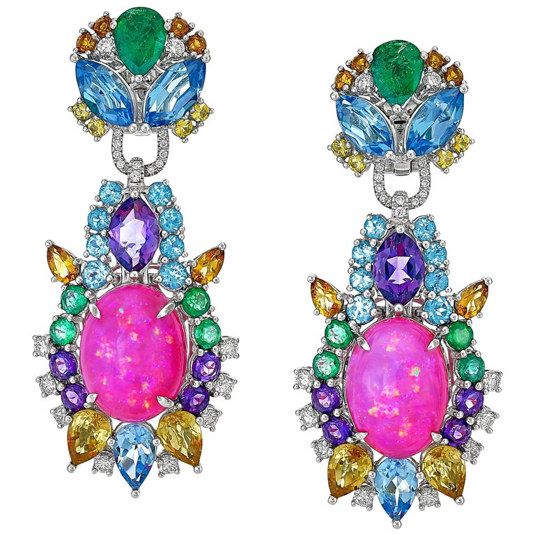Pink Opal, Diamond, Emerald, Sapphire, Topaz and Citrine Starburst Earrings For Sale
