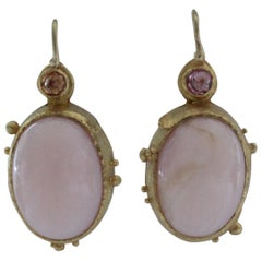Pink Opal Pink Sapphire 22 Karat Gold Handcrafted Drop Contemporary Earrings