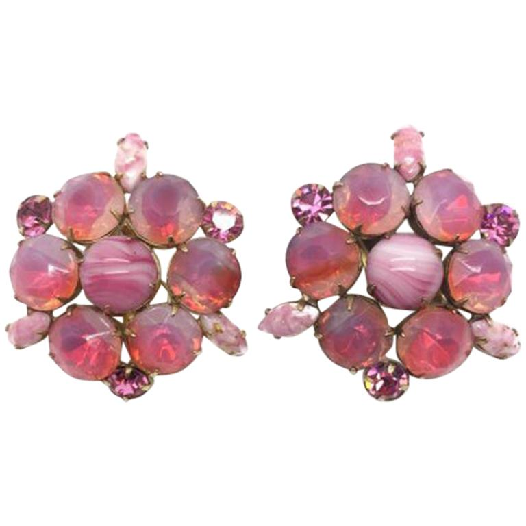 Pink Opalescent Vintage Earrings 1950s For Sale