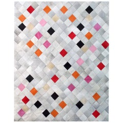 Pink, Orange Black Falling Squares Cowhide Area Floor Rug X-Large