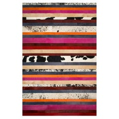 Pink, Orange, Black & White Stripes Customizable Nueva Raya Cowhide Rug Large