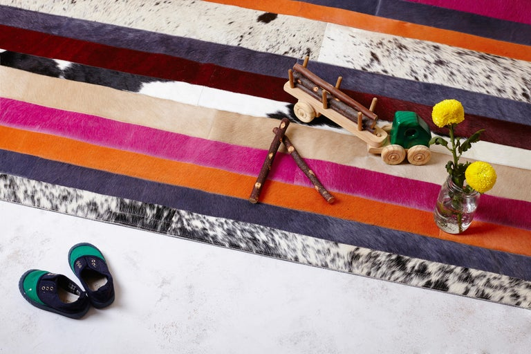 Art Deco Pink, Orange, Black & White Stripes Customizable Nueva Raya Cowhide Rug Medium For Sale