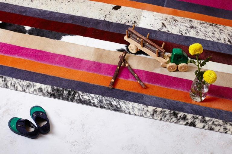 Machine-Made Pink, Orange, Black & White Stripes Customizable Nueva Raya Cowhide Rug Medium For Sale