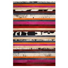 Pink, Orange, Black & White Stripes Customizable Nueva Raya Cowhide Rug Medium