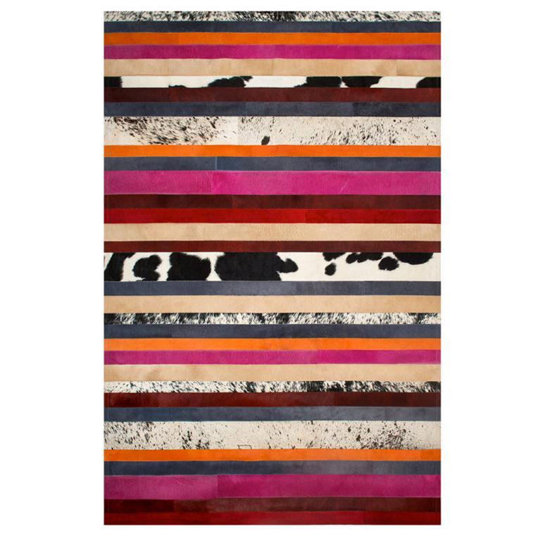 Pink, Orange, Black & White Stripes Customizable Nueva Raya Cowhide Rug Medium For Sale