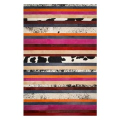 Pink, Orange, Black and White Stripes Customizable Nueva Raya Cowhide Rug Small