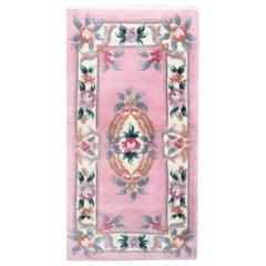 Pink Oriental Chinese Rug, Traditional Carpet Vintage Wool Area Rug