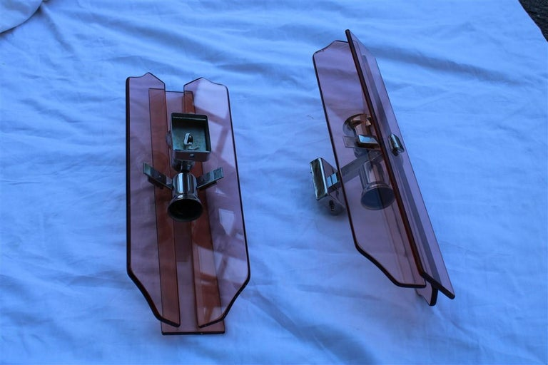 Mid-20th Century Pink Pair of Sconces Veca Design Italian Design Crystall, 1960s For Sale