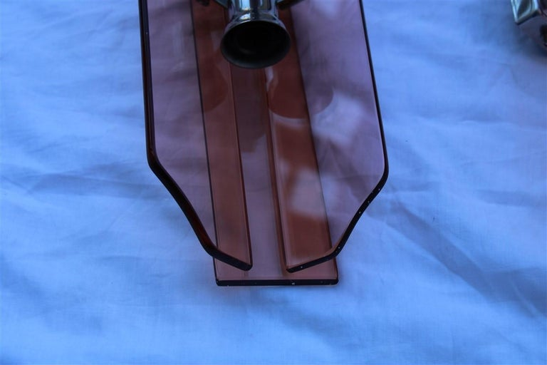 Pink Pair of Sconces Veca Design Italian Design Crystall, 1960s For Sale 1