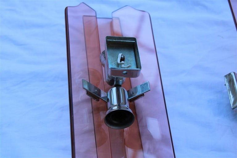 Pink Pair of Sconces Veca Design Italian Design Crystall, 1960s For Sale 2