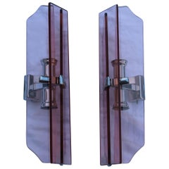 Pink Pair of Sconces Veca Design Italian Design Crystall, 1960s