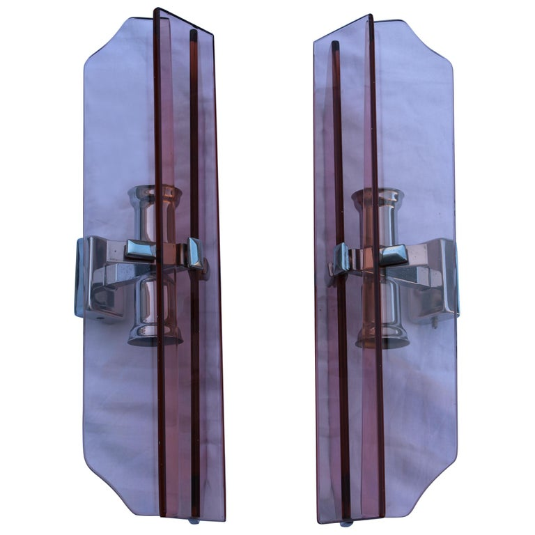 Pink Pair of Sconces Veca Design Italian Design Crystall, 1960s For Sale