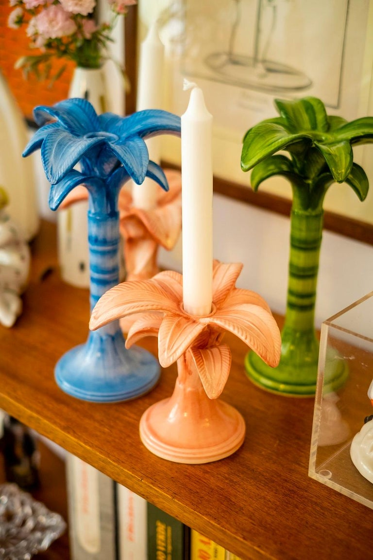 Hand-Painted Pink Palm Trees Candlesticks Hand Painted Made in Italy Set of 2 For Sale
