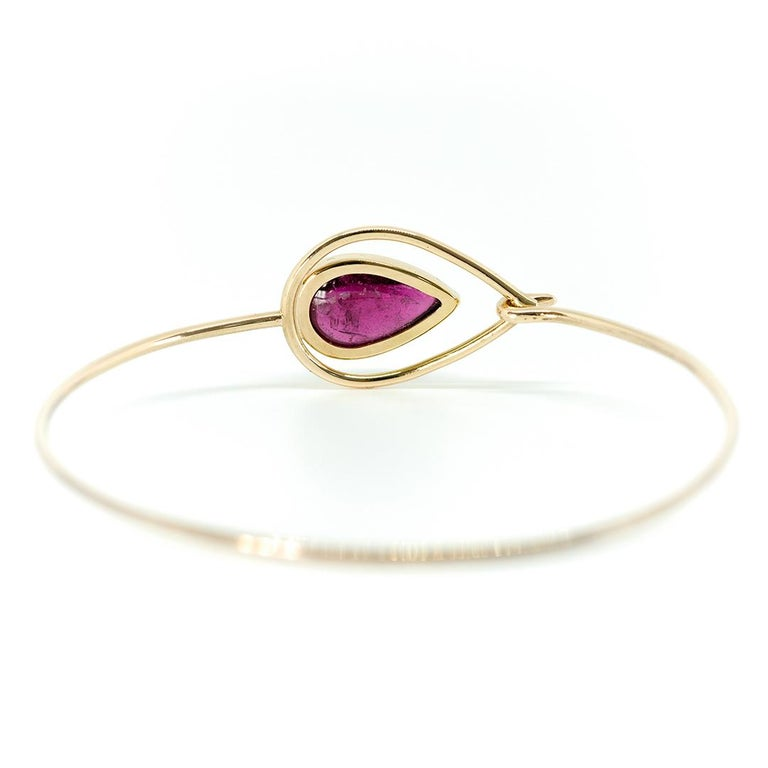 Contemporary Pink Peacock Bangle Bracelet Created by Marion Jeantet For Sale